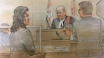Zeljna Kosovac appears before Justice Blouin on September 22, 2017 on charges related to the death of a toddler found in a hot car. (Sketch by John Mantha)