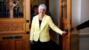 B.C. Finance Minister Carole James leaves the legislative assembly in Victoria, B.C. in this Sept. 2017 file photo. (THE CANADIAN PRESS/Chad Hipolito)