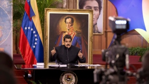 Venezuela's President Nicolas Maduro speaks at a news conference in Caracas, Venezuela, on Tuesday, Aug. 22, 2017. (AP Photo/Ariana Cubillos)