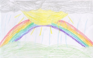 Weather art by Jessie, age 8, from Sunshine Hills Elementary School.