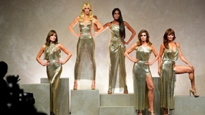From left: Supermodels Carla Bruni, Claudia Schiffer, Naomi Campbell, Cindy Crawford, and Helena Christensen. (MIGUEL MEDINA / AFP)