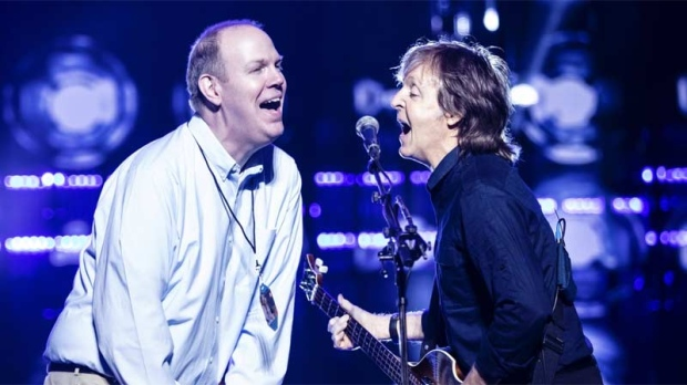 "Grand Forks, B.C. resident Gregg Anderson sings ""Get Back"" with Paul McCartney on stage at the Barclay Center in Brooklyn. (Twitter)"