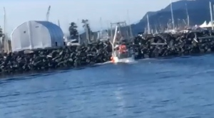 Boat captain nods off, crashes into breakwater