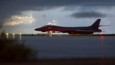 In this image provided by the U.S. Air Force, a U.S. Air Force B-1B Lancer, assigned to the 37th Expeditionary Bomb Squadron, deployed from Ellsworth Air Force Base, S.D., prepares to take off from Andersen AFB, Guam, on Saturday, Sept. 23, 2017. (Staff Sgt. Joshua Smoot/U.S. Air force via AP)