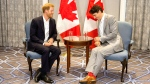 Prince Harry, left, meets with Canadian Prime Minister Justin Trudeau in Toronto on Saturday, September 23, 2017. THE CANADIAN PRESS/Chris Young