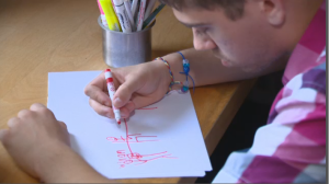 Ellis Goldsmith, now 18, began using drawings in a daily ritual with his father-- where the two would discuss concepts or activities using minimal language, since Ellis is on the Autism spectrum.
