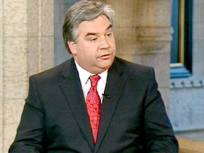 Public Safety Minister Peter Van Loan speaks with Power Play with Tom Clark in Ottawa, on Tuesday, April 21, 2009.