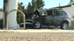 A damaged SUV and a charred gas pump following Saturday afternoon's crash at the Petro-Canada station on 36 St SE
