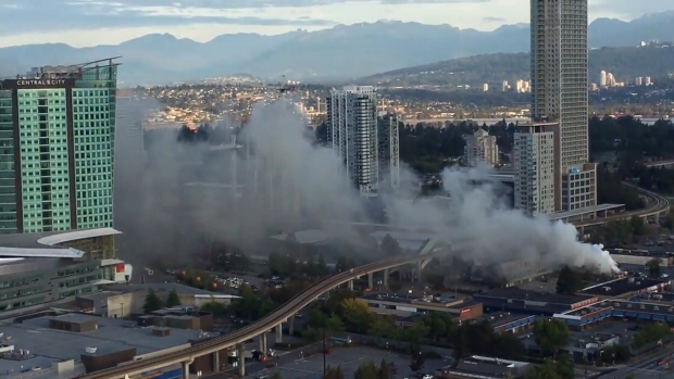 A fire that began in a garbage pile behind a Surrey hockey store shut down Surrey Central Skytrain station for six hours as well as a local recreation centre on Sept. 23, 2017. (CTV)