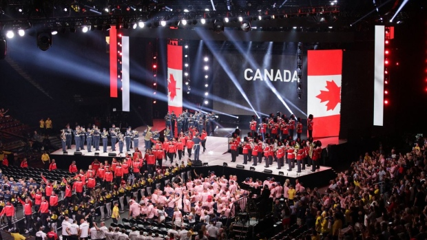 Team Canada arrives at the opening ceremonies for the Invictus Games, in Toronto, on Saturday, Sept. 23, 2017. (InvictusCanada / Twitter)