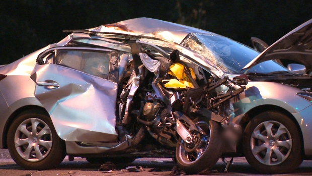 One person is dead and another taken to hospital with minor injuries after a crash involving a motorcycle and a car on September 23, 2017. (CTV Kitchener)