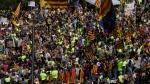 Demonstrators pack on of the main squares in Barcelona, Spain, Sunday, Sept. 24, 2017. (AP / Manu Fernandez)