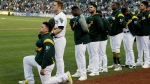 Oakland Athletics catcher Bruce Maxwell kneels during the national anthem before the start of a baseball game against the Texas Rangers Saturday, Sept. 23, 2017, in Oakland, Calif. (AP / Eric Risberg)