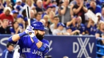Toronto Blue Jays right fielder Jose Bautista (19) bats against the New York Yankees during seventh inning AL baseball action in Toronto on Friday, September 22, 2017. THE CANADIAN PRESS/Frank Gunn