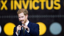 Prince Harry speaks during the opening ceremonies of the Invictus Games in Toronto on Saturday, September 23, 2017. (Nathan Denette/THE CANADIAN PRESS)