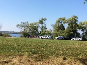 Police vehicles parked outside Westboro beach Sunday September 24, 2017 (Source: Twitter / @Flomouthe)
