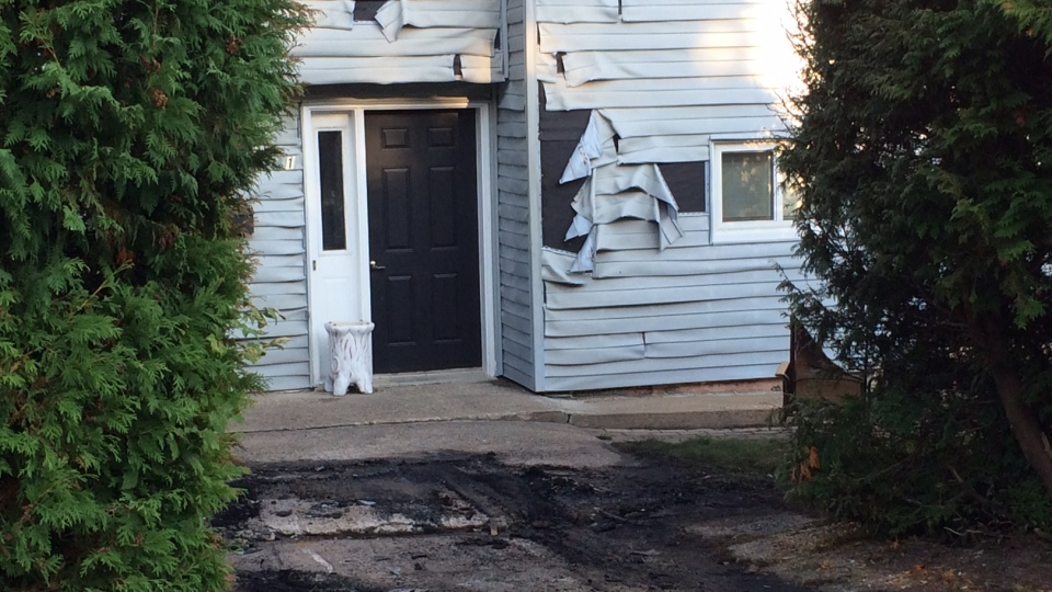 OPP say a car fire damaged this home in Orillia, Ont. on Saturday, Sept. 23, 2017. (Don Wright/ CTV Barrie)