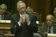 Montreal Mayor Gerald Tremblay speaks during an emergency city hall meeting to discuss a controversial water meter contract. (Apr. 21, 2009)