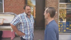 Montreal mayoral candidate Jean Fortier campaigns in Cote-des-Neiges