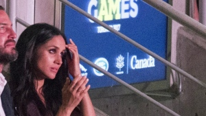 Meghan Markle takes in the Invictus Games Opening Ceremonies in Toronto on Saturday, Sept. 23, 2017. (Frank Gunn / THE CANADIAN PRESS)