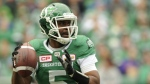 Saskatchewan Roughriders quarterback Kevin Glenn looks for a receiver during first half CFL action against the Calgary Stampeders at Mosaic Stadium in Regina on Sunday, September 24, 2017. (Mark Taylor / THE CANADIAN PRESS)