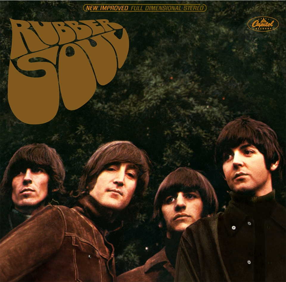 A detail of the album cover for The Beatles album 'Rubber Soul'.