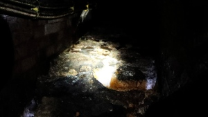 A Fatberg covers an 1852-built sewer at Westminster in in London, Monday, Sept. 25, 2017. (AP Photo/Frank Augstein)