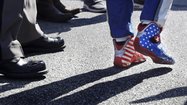 Danica Patrick wears stars and stripes-adorned shoes at New Hampshire Motor Speedway in Loudon, N.H., on Sept. 24, 2017. (Charles Krupa / AP)