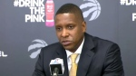 Toronto Raptors President Masai Ujiri speaks to reporters on September 25, 2017.
