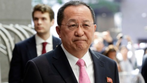 North Korea's Foreign Minister Ri Yong Ho speaks outside the U.N. Plaza Hotel, in New York, Monday, Sept. 25, 2017. (AP / Richard Drew)
