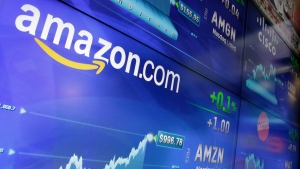 In this Tuesday, May 30, 2017, file photo, the Amazon logo is displayed at the Nasdaq MarketSite, in New York's Times Square. (AP Photo/Richard Drew, File)