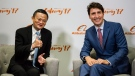 Alibaba Group founder Jack Ma and Prime Minister Justin Trudeau speak to press at the Gateway Conference, in Toronto, on Monday, Sept. 25, 2017. (THE CANADIAN PRESS/Christopher Katsarov)