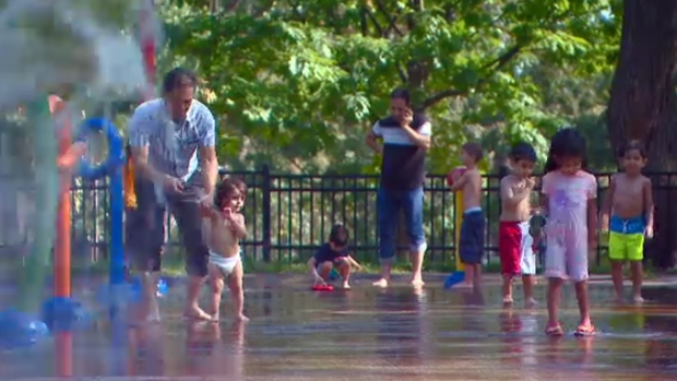 The city of Montreal opened splash parks at many locations for September's heat wave (Sept. 25, 2017)