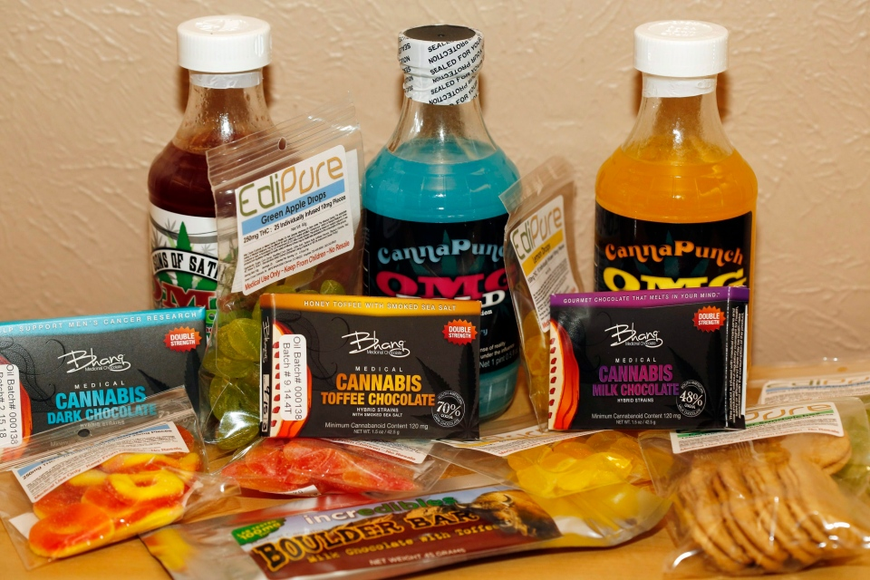 This April 18, 2014, file photo shows edible marijuana products on display at a medical marijuana dispensary in Denver. (AP Photo/Ed Andrieski, File)