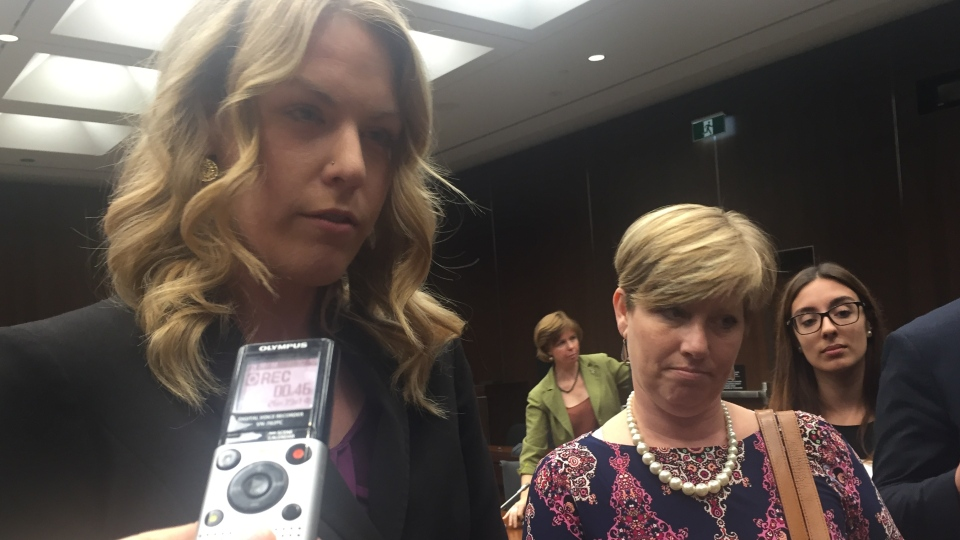 Conservative MPs Rachael Harder and Karen Vecchio at the Status of Women committee Tuesday, Sept. 26, 2017. (Rachel Aiello / CTV News)