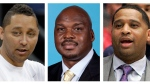 These file photos show, assistant basketball coaches Tony Bland, left, Chuck Person, center, and Lamont Richardson. (AP Photo/File)