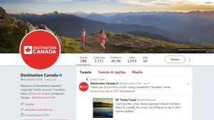 Destination Canada's Twitter page. The agency spent more than $4.3 million on sponsored social media posts.