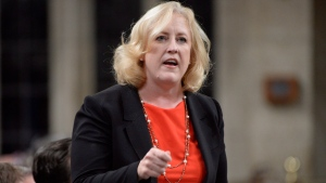 Conservative MP Lisa Raitt rises during question period in the House of Commons on Parliament Hill in Ottawa on Tuesday, Sept.26, 2017. (THE CANADIAN PRESS/Adrian Wyld)