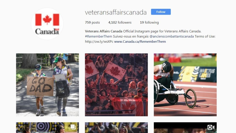 Veterans Affairs Canada's Instagram page. The department spent $867K on sponsored posts.