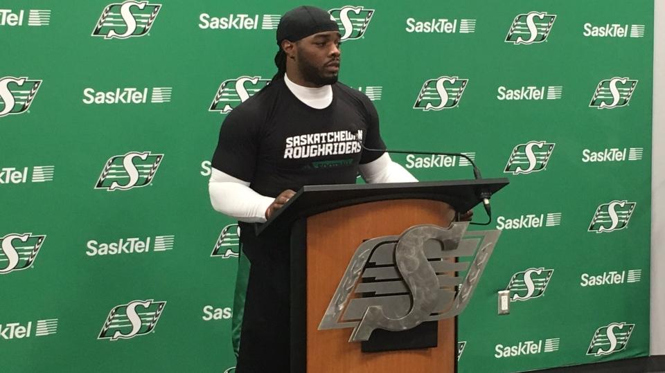 Trent Richardson speaks at a news conference in Regina on Tuesday, Sept. 26, 2017. (LEE JONES/CTV REGINA)