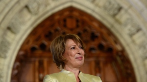 Dr. Mona Nemer is introduced as Canada's new Chief Science Advisor on Parliament Hill in Ottawa on Sept.26, 2017. (THE CANADIAN PRESS / Sean Kilpatrick)