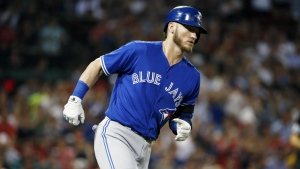 Toronto Blue Jays' Josh Donaldson rounds first base on his solo home run during the third inning of a baseball game against the Boston Red Sox in Boston on Tuesday, Sept. 26, 2017. (AP / Michael Dwyer)