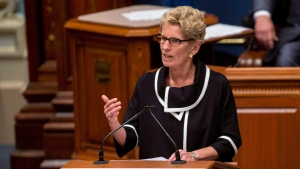 Ontario Premier Kathleen Wynne speaks at the National Assembly in Quebec City, Thursday, September 21, 2017. (THE CANADIAN PRESS/Francis Vachon)