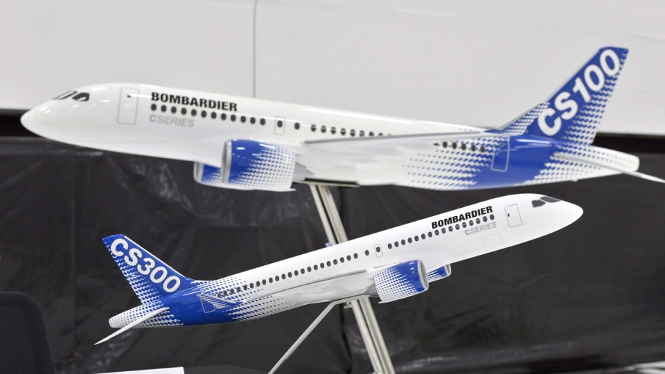 Models of Bombardier C-series airplanes at a news conference in Montreal, Que., on Feb. 7, 2017. (Paul Chiasson / THE CANADIAN PRESS)