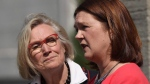 Carolyn Bennett (left), minister of Crown-Indigenous relations and northern affairs looks on as Indigenous Services Minister Jane Philpott speaks to media after a Liberal cabinet shuffle at Rideau Hall in Ottawa on Monday, Aug. 28, 2017. (Sean Kilpatrick/The Canadian Press)