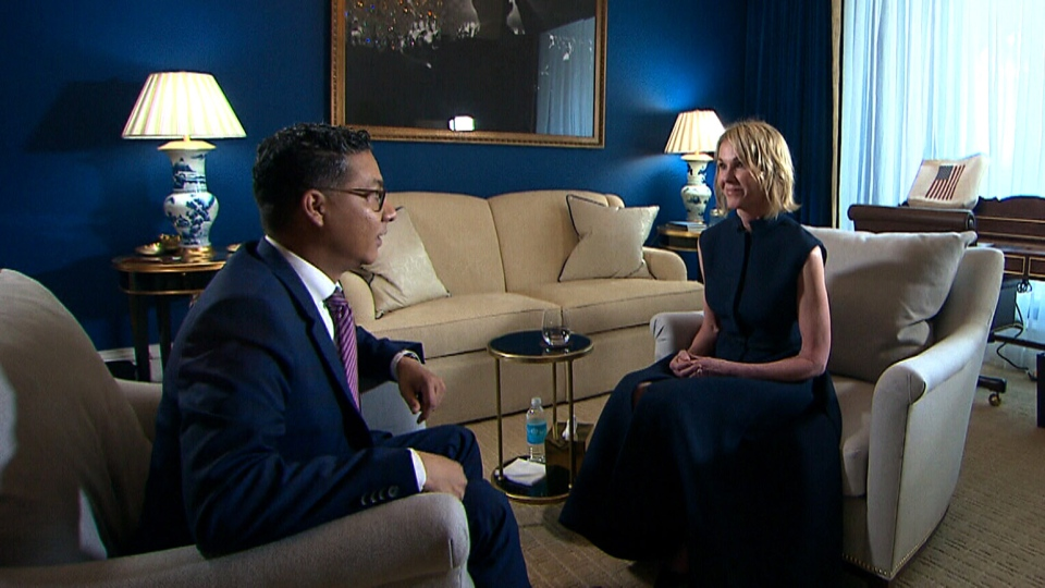 Kelly Craft, the United States' new ambassador to Canada, speaks with CTV News' Richard Madan on Sept. 27, 2017. (CTV News)