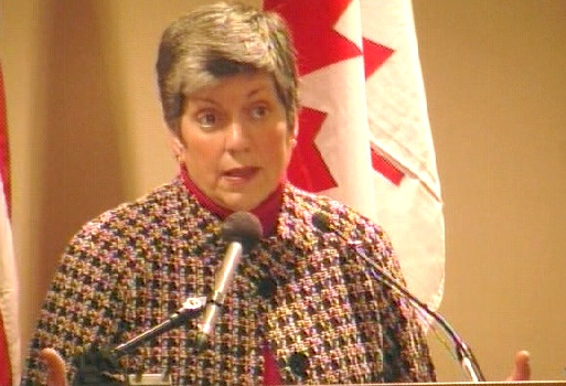 U.S. Homeland Security Secretary Janet Napolitano speaks to a Canadian and American audience in Washington on Tuesday, April 21, 2009.