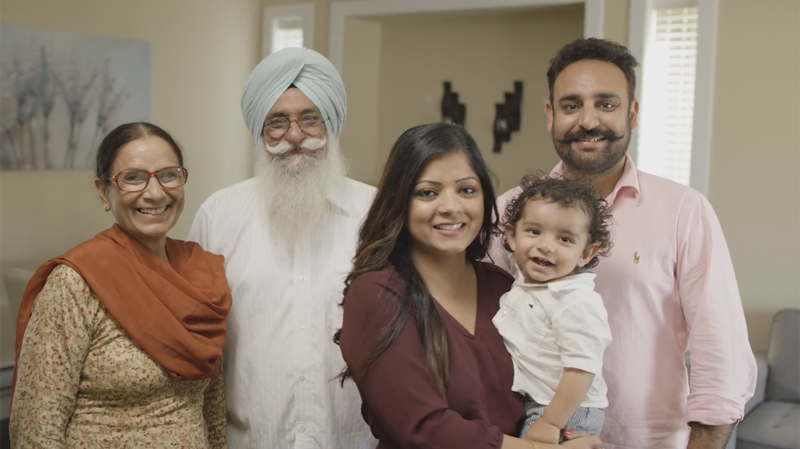A family is seen in a still from a B.C. government ad that appears on its Facebook page.