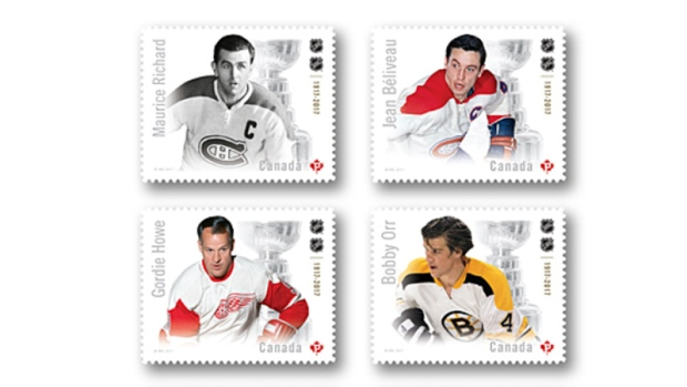 Canadian Hockey Legends issue stamps