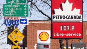Gas prices in Montreal, on Jan. 20, 2016. (Ryan Remiorz / THE CANADIAN PRESS)